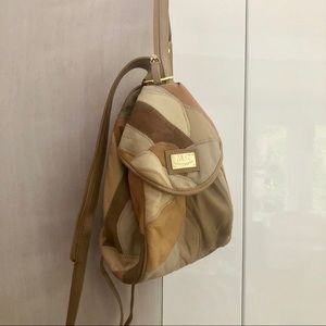 Vintage beige gold patch small leather backpack